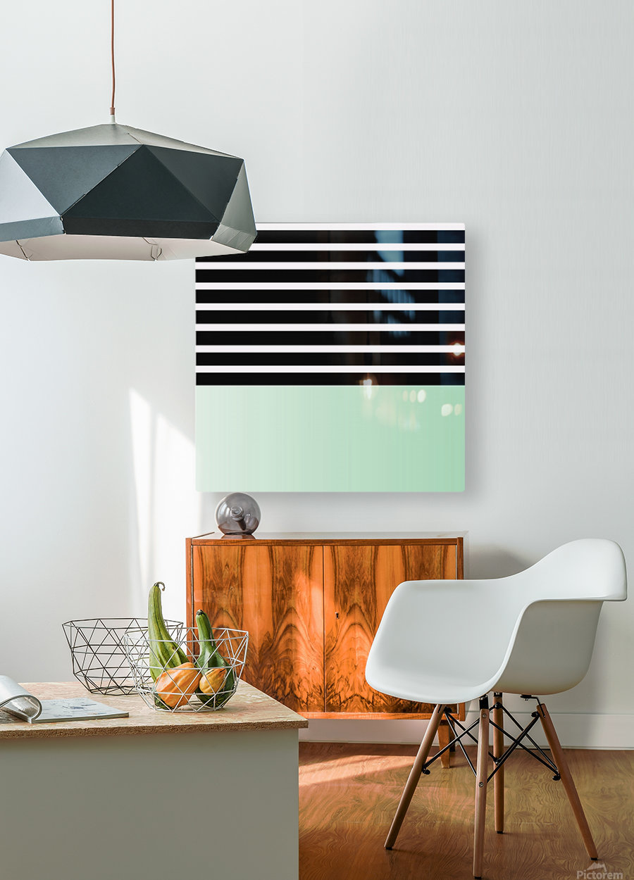 Black & White Stripes with Green Patch  HD Metal print with Floating Frame on Back