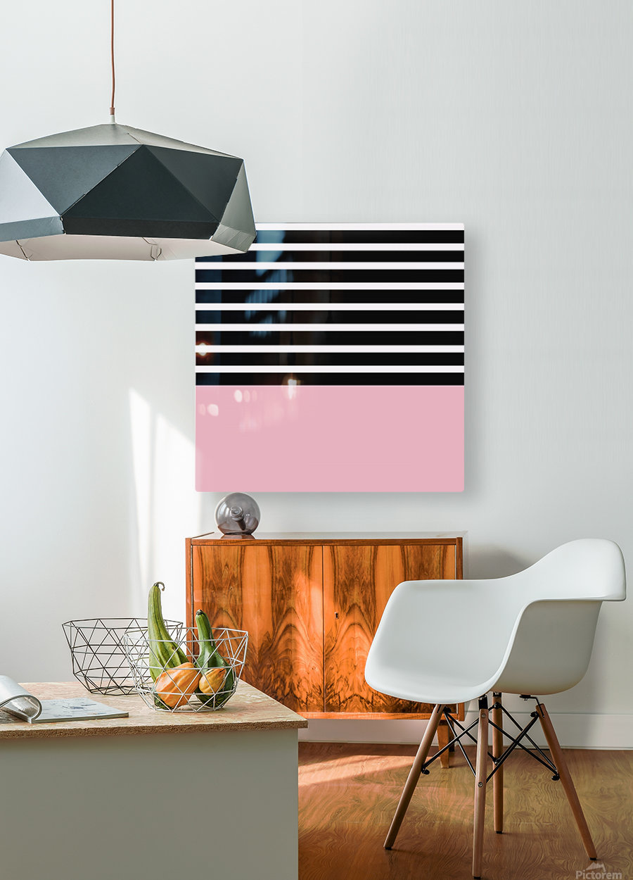 Black & White Stripes with Beauty Bush Patch  HD Metal print with Floating Frame on Back