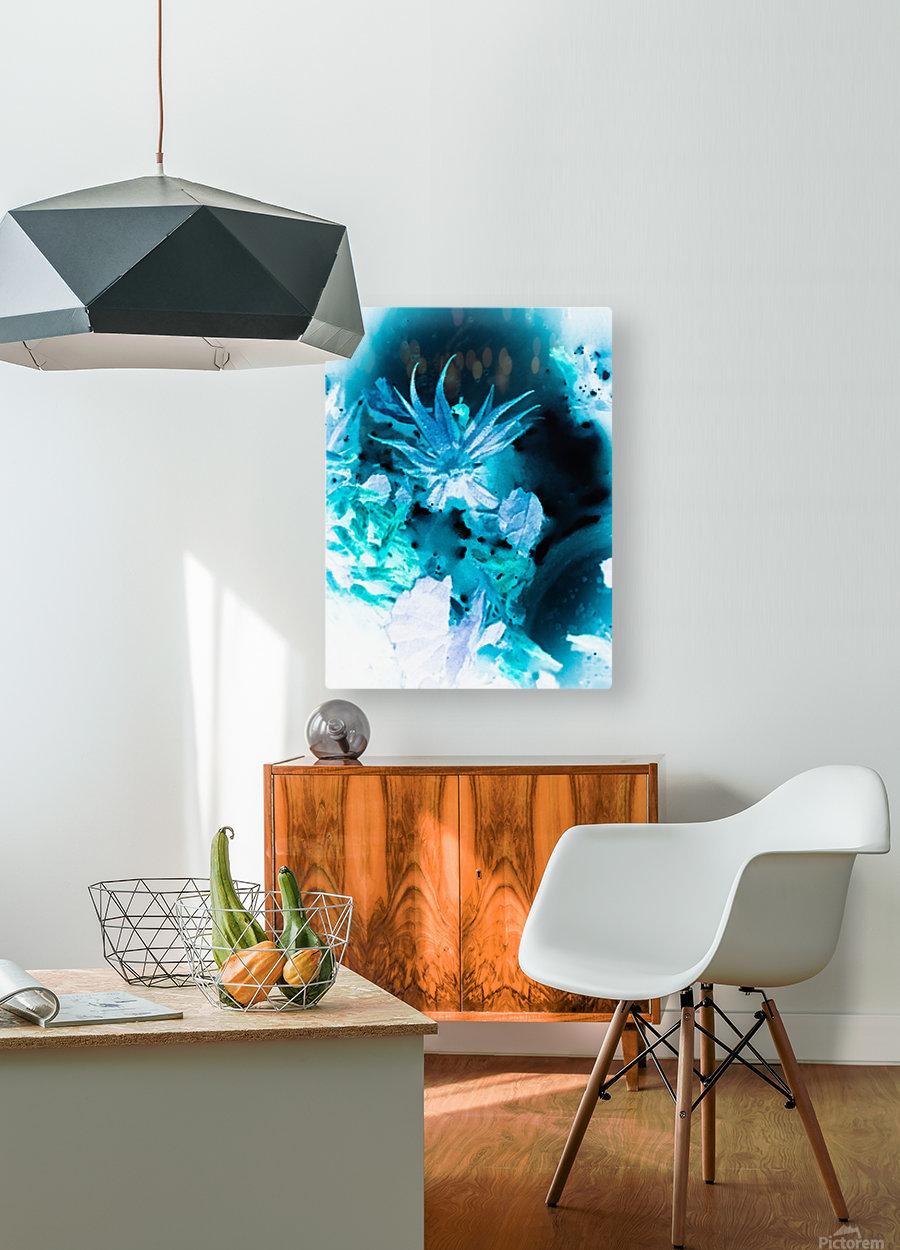 Bleu Bird Ingnite   Impression métal HD avec cadre flottant sur le dos