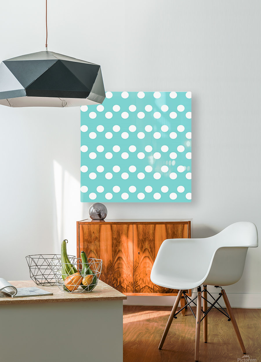 MINT Polka Dots  HD Metal print with Floating Frame on Back