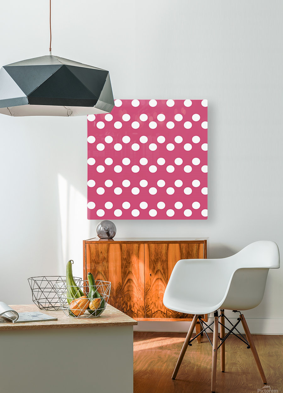 CRANBERRY Polka Dots  HD Metal print with Floating Frame on Back