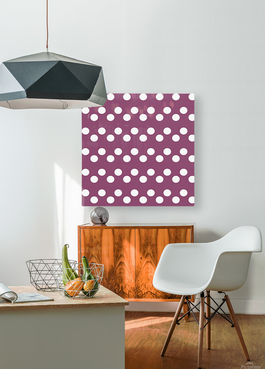 BURGUNDY Polka Dots  HD Metal print with Floating Frame on Back