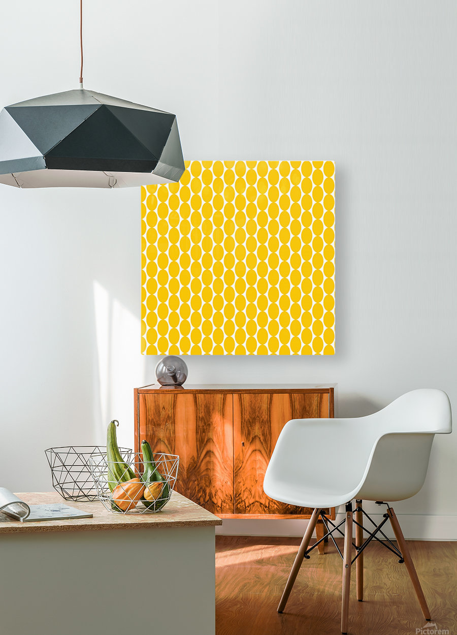Yellow  egg shape  HD Metal print with Floating Frame on Back