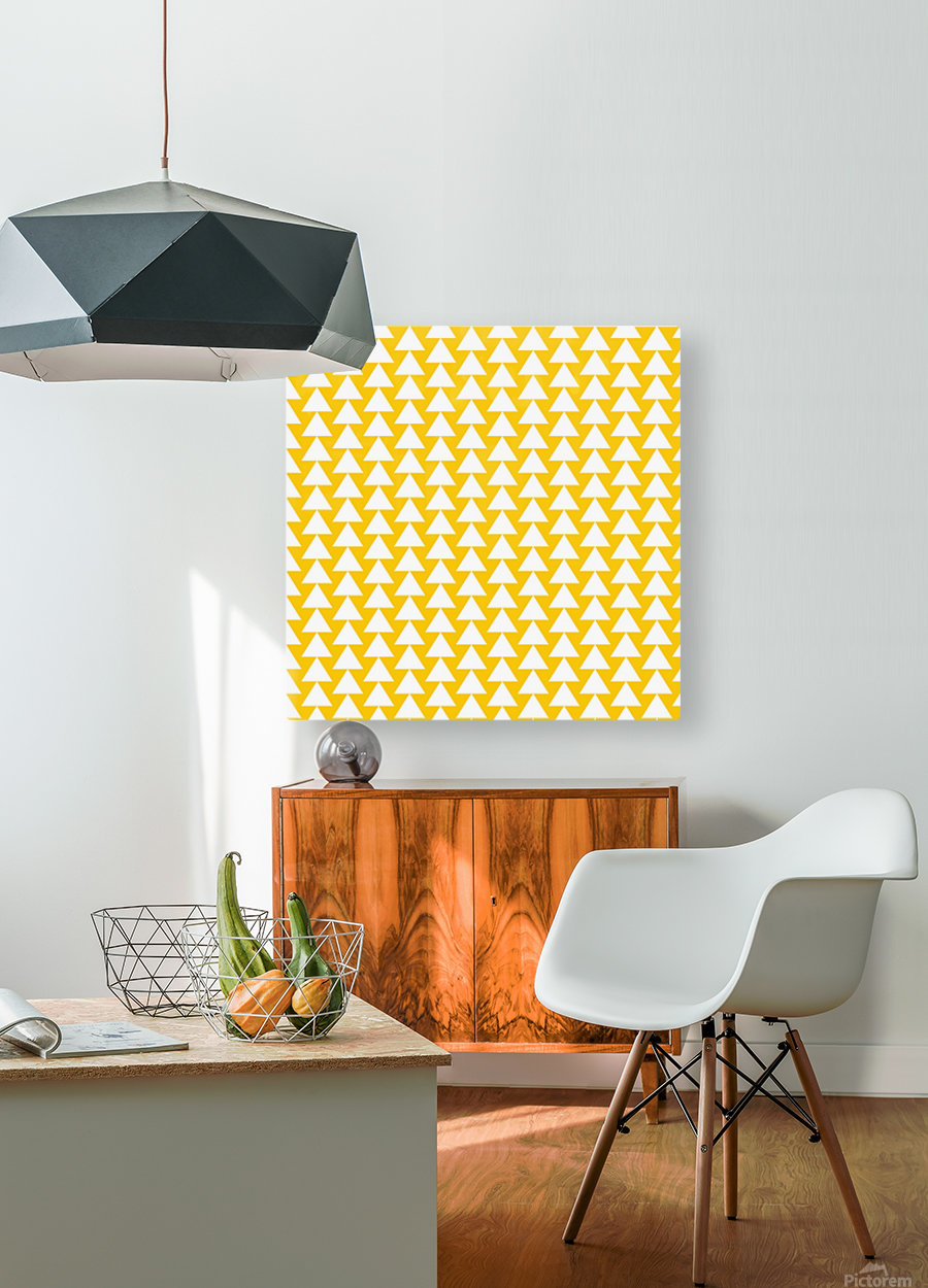 Yellow  White triangle  HD Metal print with Floating Frame on Back