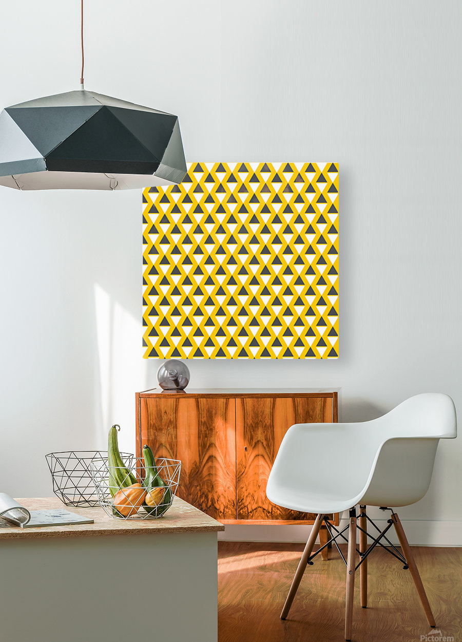 Yellow   pyramid  HD Metal print with Floating Frame on Back