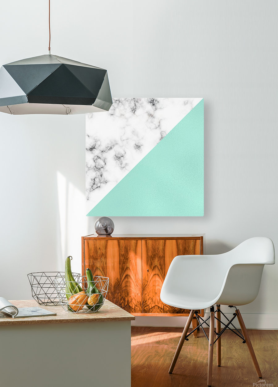 ABSTRACT MODERN TURQUOISE GLASS MARBLE  HD Metal print with Floating Frame on Back