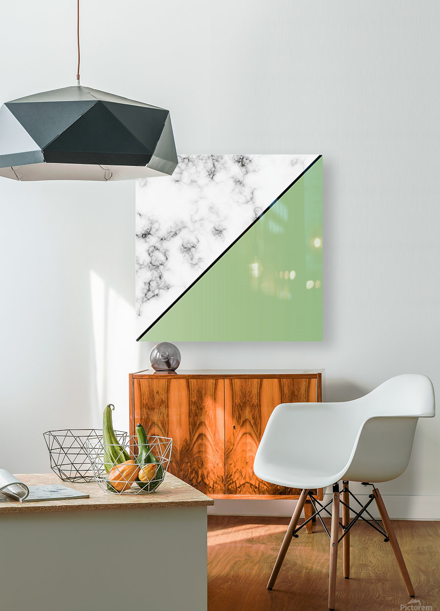 ABSTRACT MODERN YELLOW GREEN MARBLE  HD Metal print with Floating Frame on Back