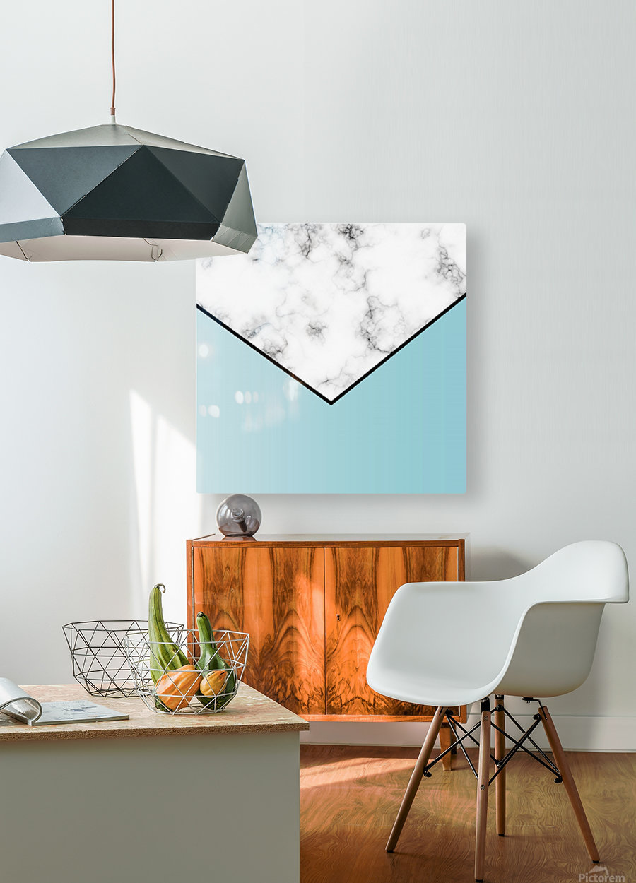 ABSTRACT BLUE TINT MODERN MARBLE  HD Metal print with Floating Frame on Back