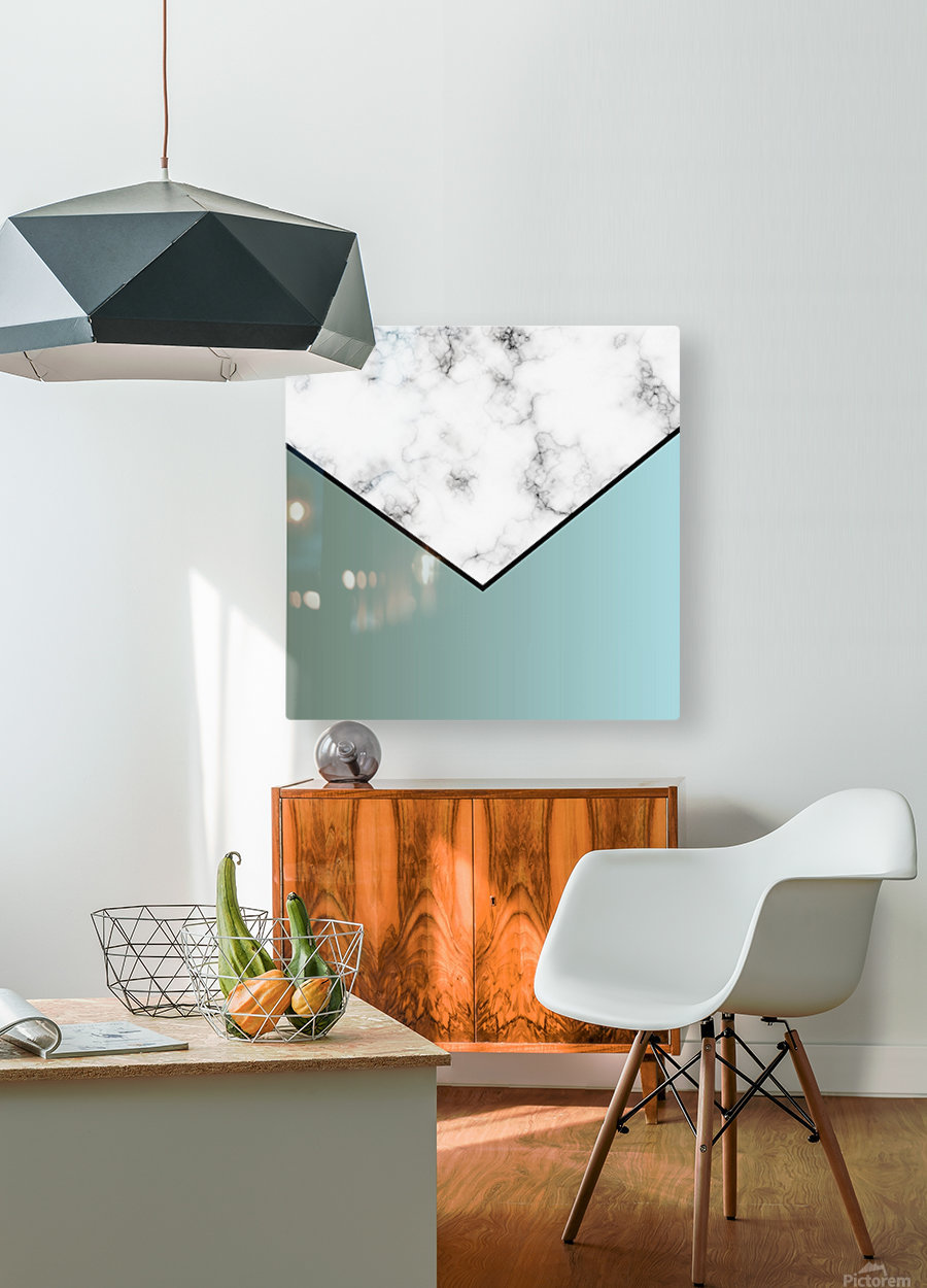 ABSTRACT GRAYISH BLUE MODERN MARBLE  HD Metal print with Floating Frame on Back