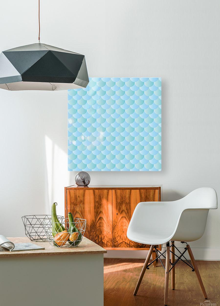 GREEN PASTEL MERMAID PATTERN  HD Metal print with Floating Frame on Back