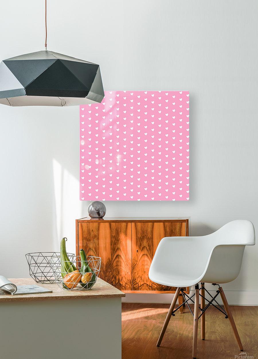 Carnation Pink Heart Shape Pattern  HD Metal print with Floating Frame on Back