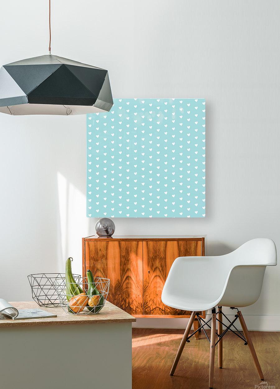Light Blue Heart Shape Pattern  HD Metal print with Floating Frame on Back