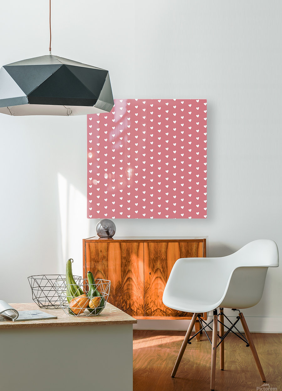 Light Red Heart Shape Pattern  HD Metal print with Floating Frame on Back