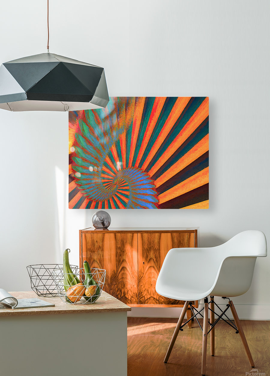 Composition in Orange Blue & Green  HD Metal print with Floating Frame on Back