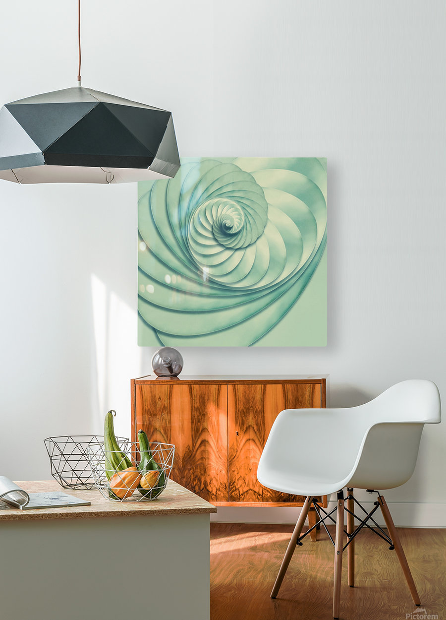 Composition in Celadon  HD Metal print with Floating Frame on Back