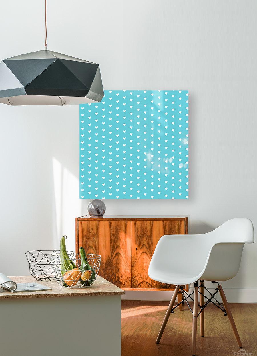 Sweet Light Blue Heart Shape Pattern  HD Metal print with Floating Frame on Back