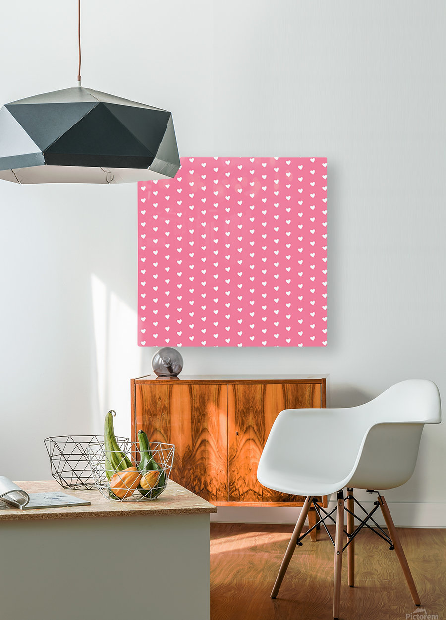 Pink Sherbet Heart Shape Pattern  HD Metal print with Floating Frame on Back
