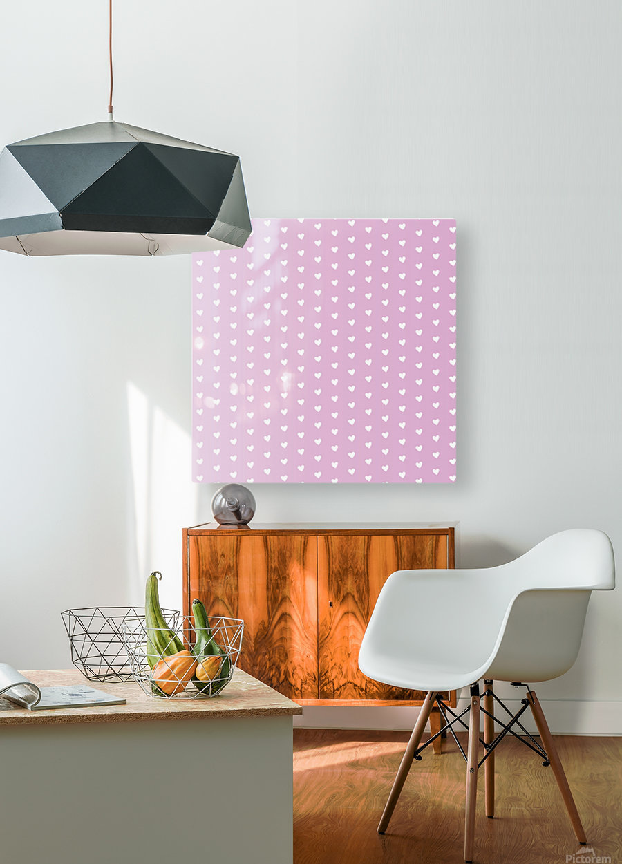 Spring Pink Heart Shape Pattern  HD Metal print with Floating Frame on Back