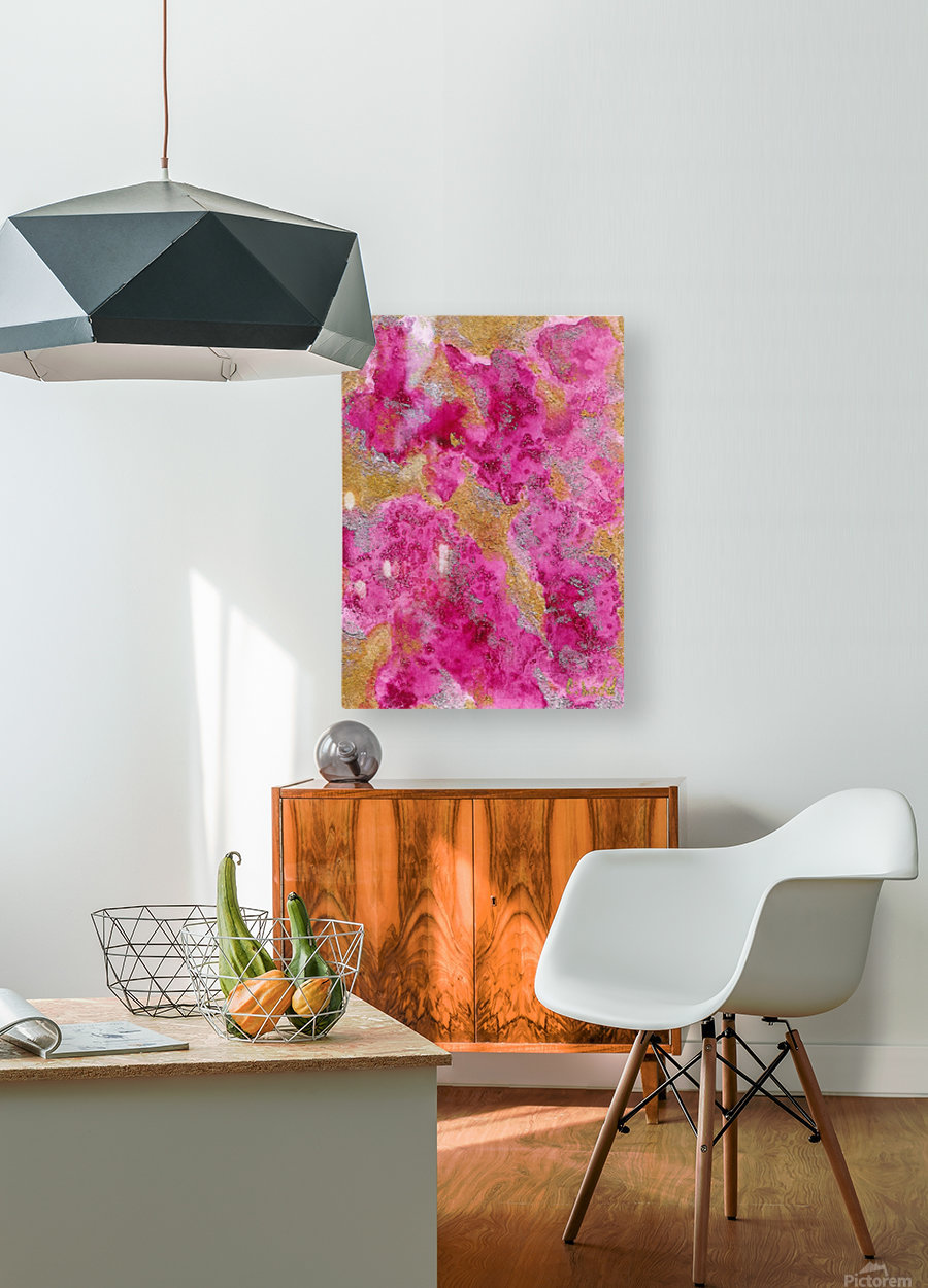 pink  HD Metal print with Floating Frame on Back
