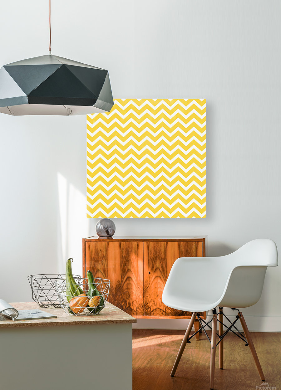 EGG YELLOW CHEVRON  HD Metal print with Floating Frame on Back