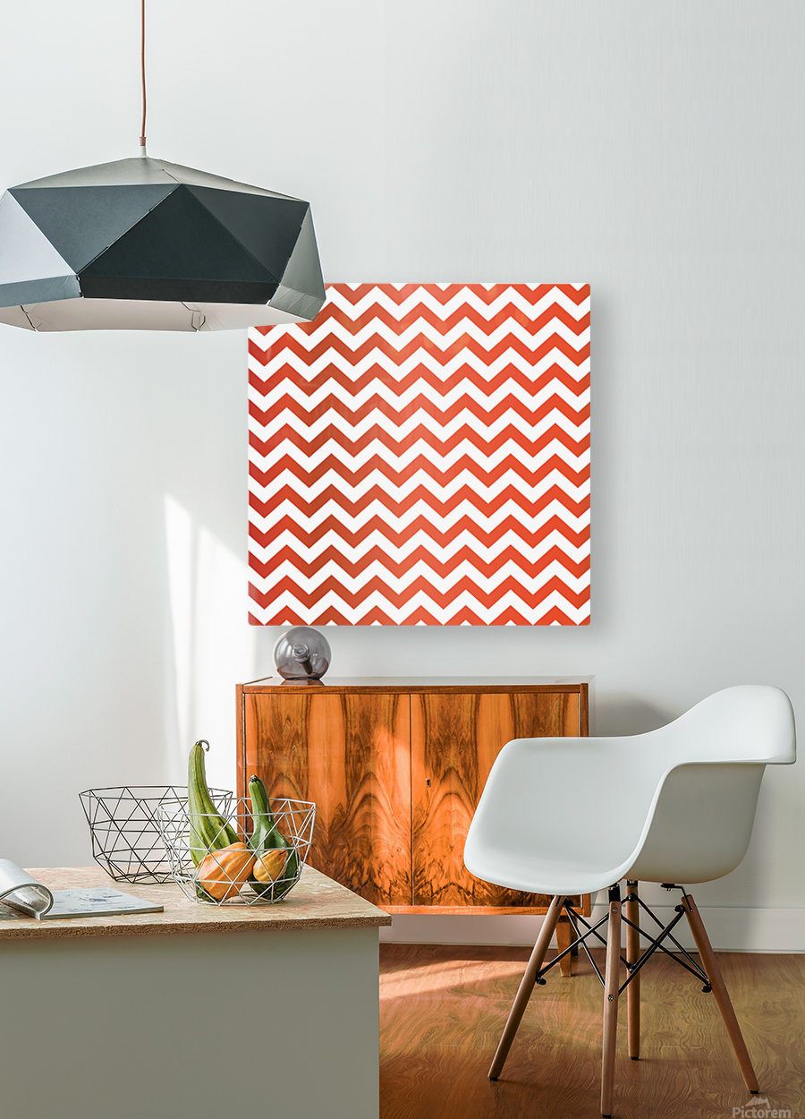 TOMATO CHEVRON  HD Metal print with Floating Frame on Back