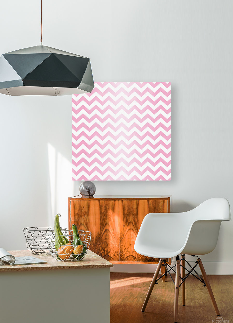 RED RADIAL PASTEL CHEVRON  HD Metal print with Floating Frame on Back