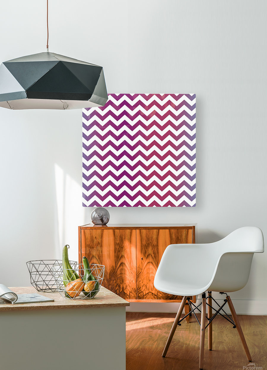 PLUM CHEVRON  HD Metal print with Floating Frame on Back