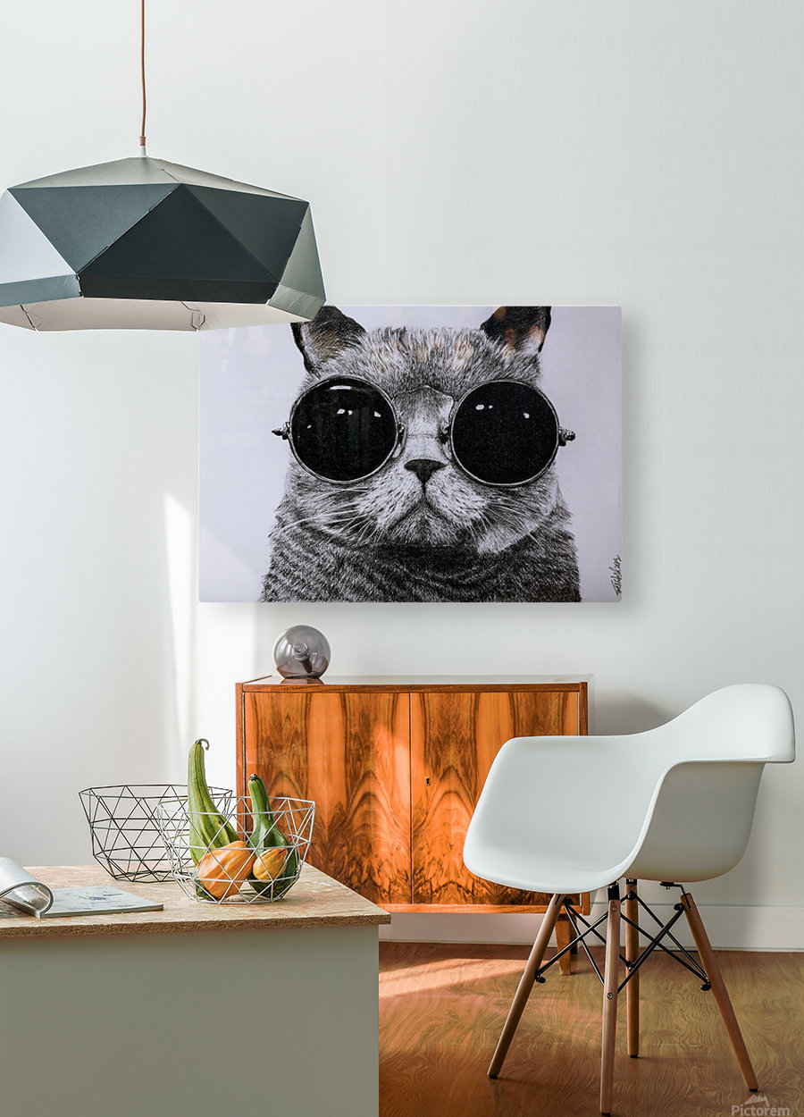 The Cat with glasses  HD Metal print with Floating Frame on Back