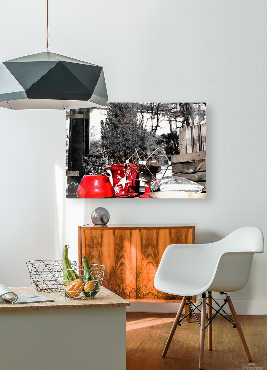 Red Kettle  HD Metal print with Floating Frame on Back