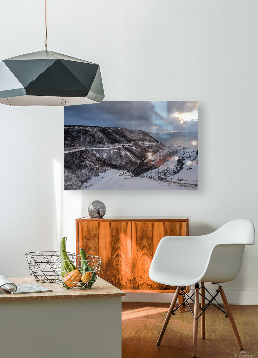 Snowy Skyline  HD Metal print with Floating Frame on Back