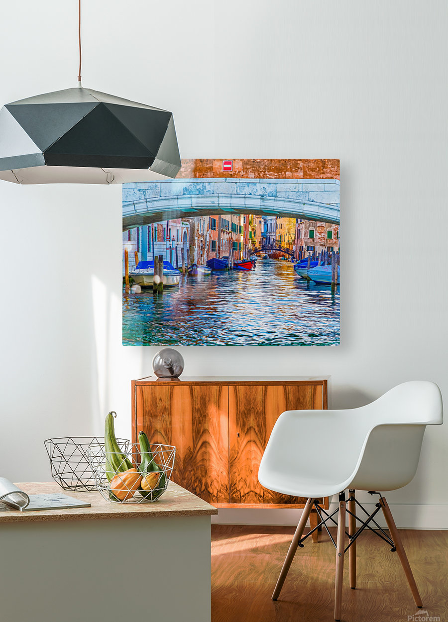 Afternoon Light in Venice Canal  HD Metal print with Floating Frame on Back