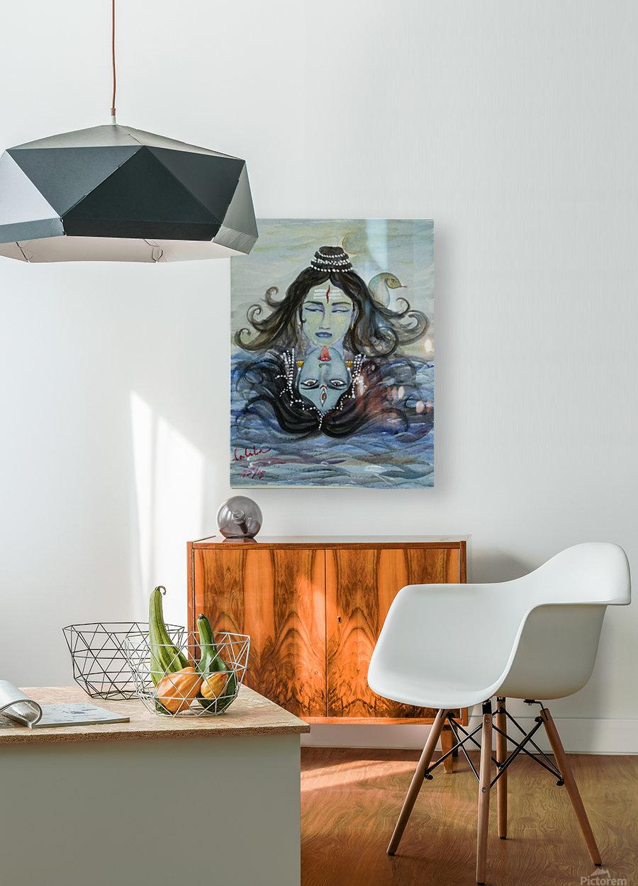 Shiva shakthi   HD Metal print with Floating Frame on Back