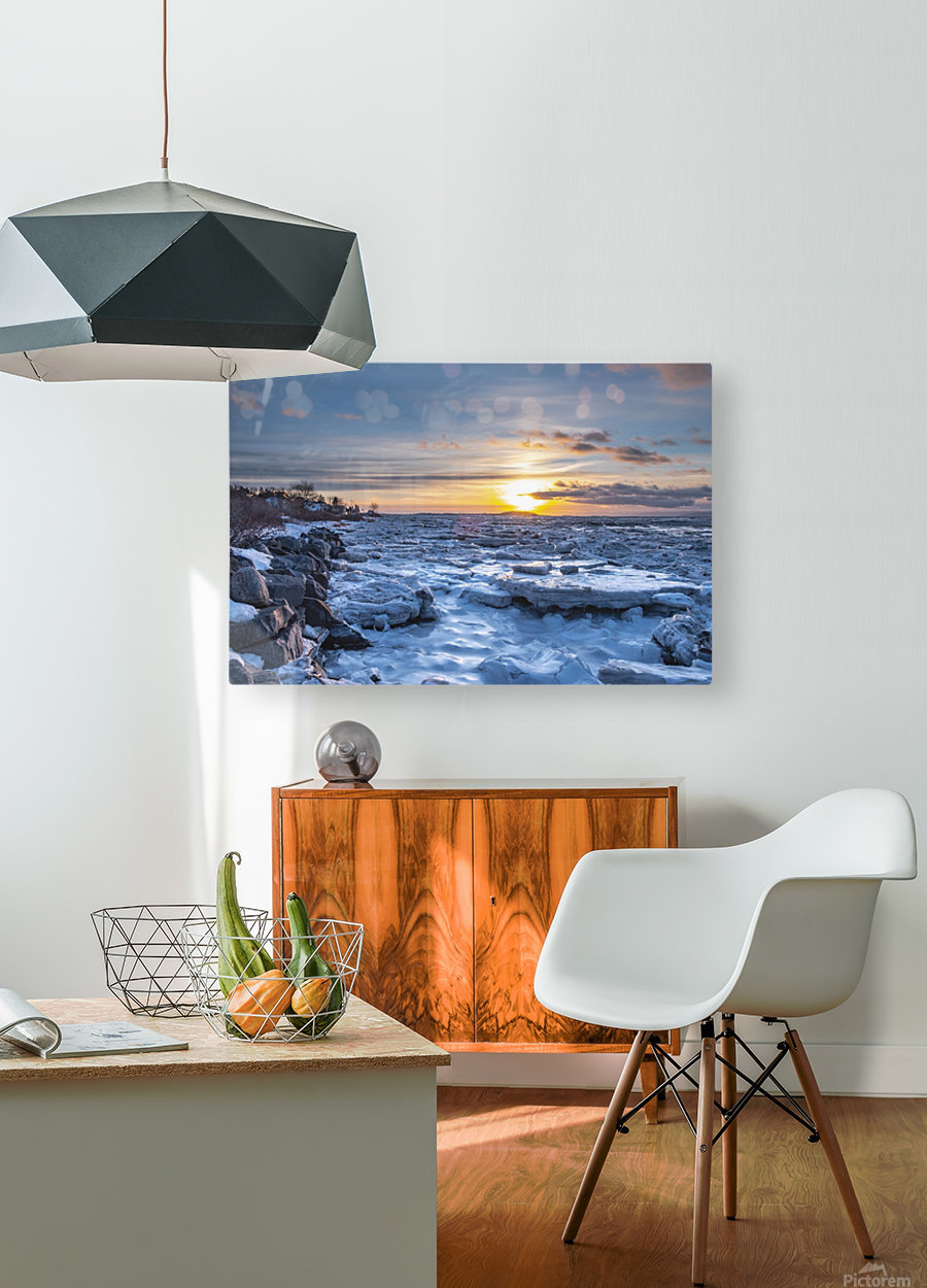 Winter contrast  Impression métal HD avec cadre flottant sur le dos
