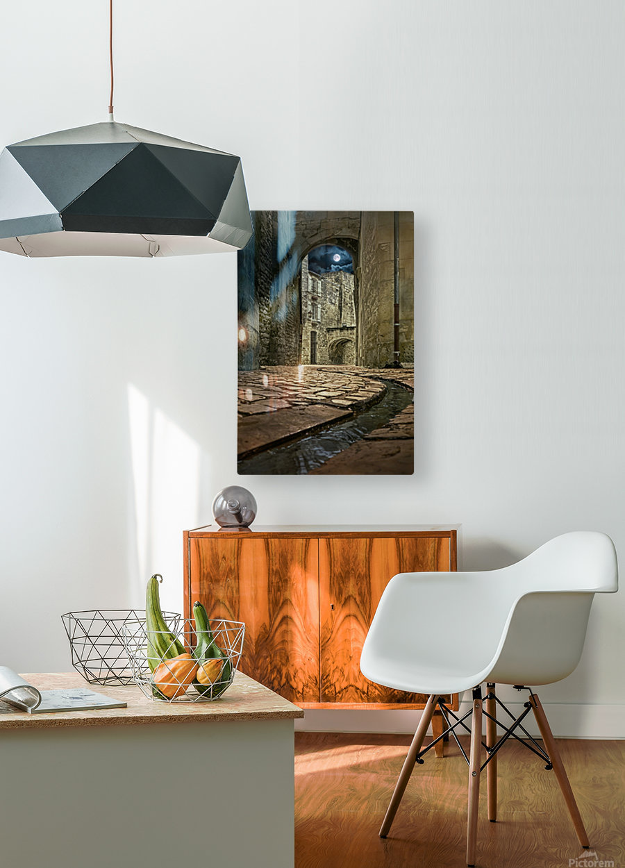 Moon over St. Remy  HD Metal print with Floating Frame on Back