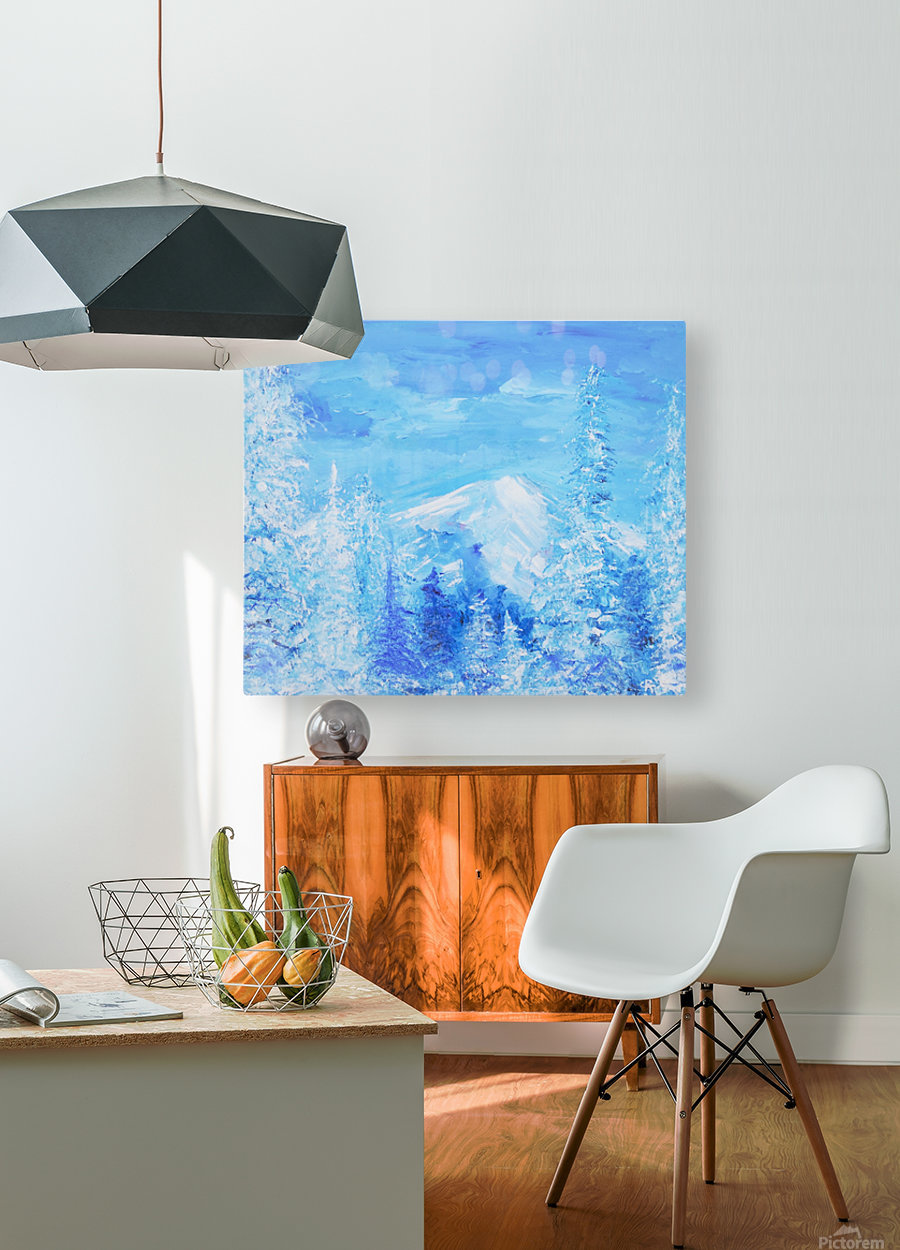 Monochromatic Blue Rocky Mountains  HD Metal print with Floating Frame on Back