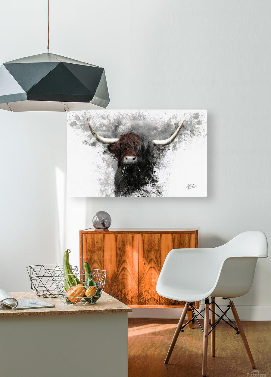 Highland Cow in Ink  Impression métal HD avec cadre flottant sur le dos