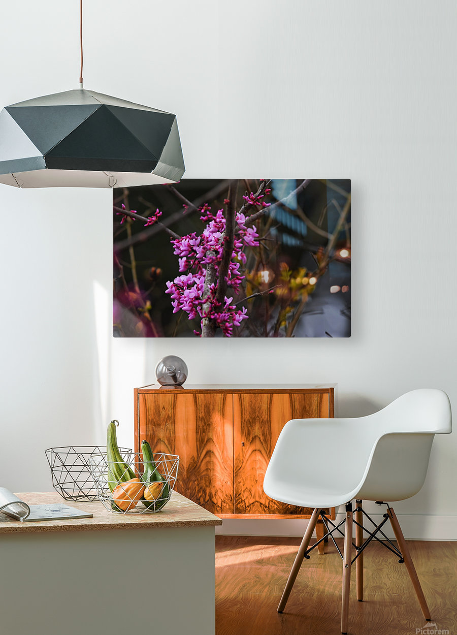 Pink Trees  HD Metal print with Floating Frame on Back