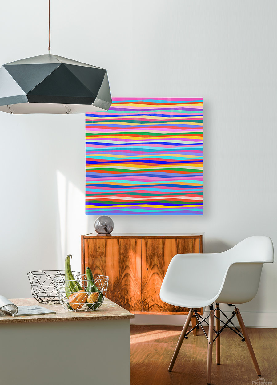 Wavy Stripes Abstract   HD Metal print with Floating Frame on Back