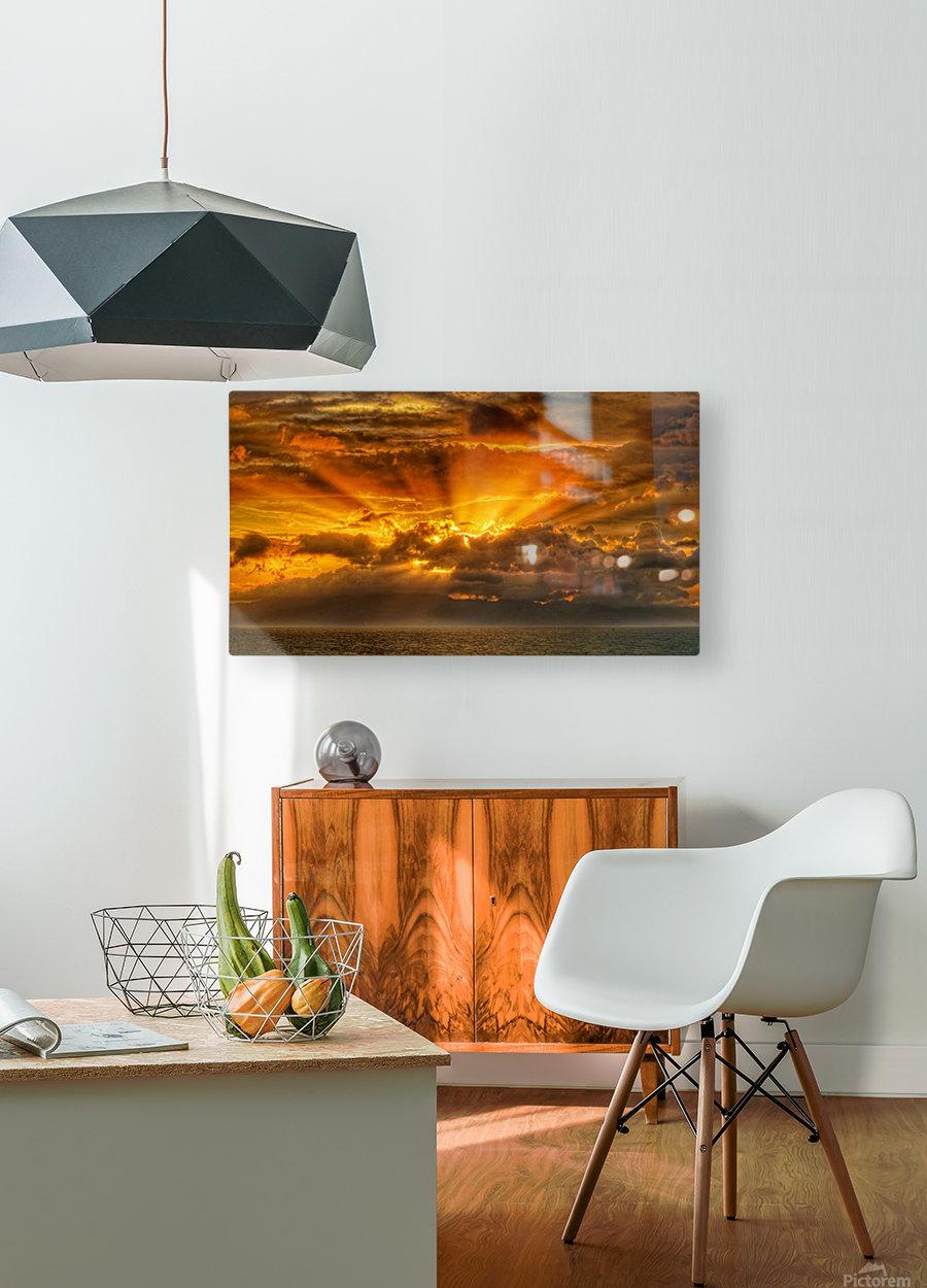 Polynesian Sunrise  HD Metal print with Floating Frame on Back