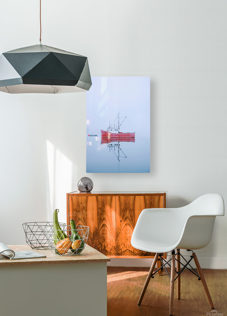 New Brunswick - fishing boat reflected in water  HD Metal print with Floating Frame on Back