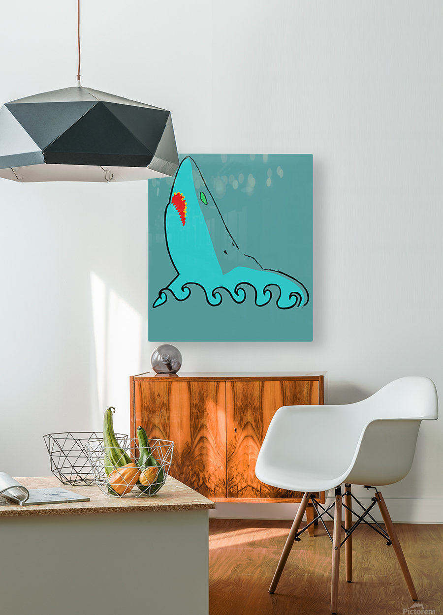 an abstract illustration of the blue shark head in blue background vector  HD Metal print with Floating Frame on Back