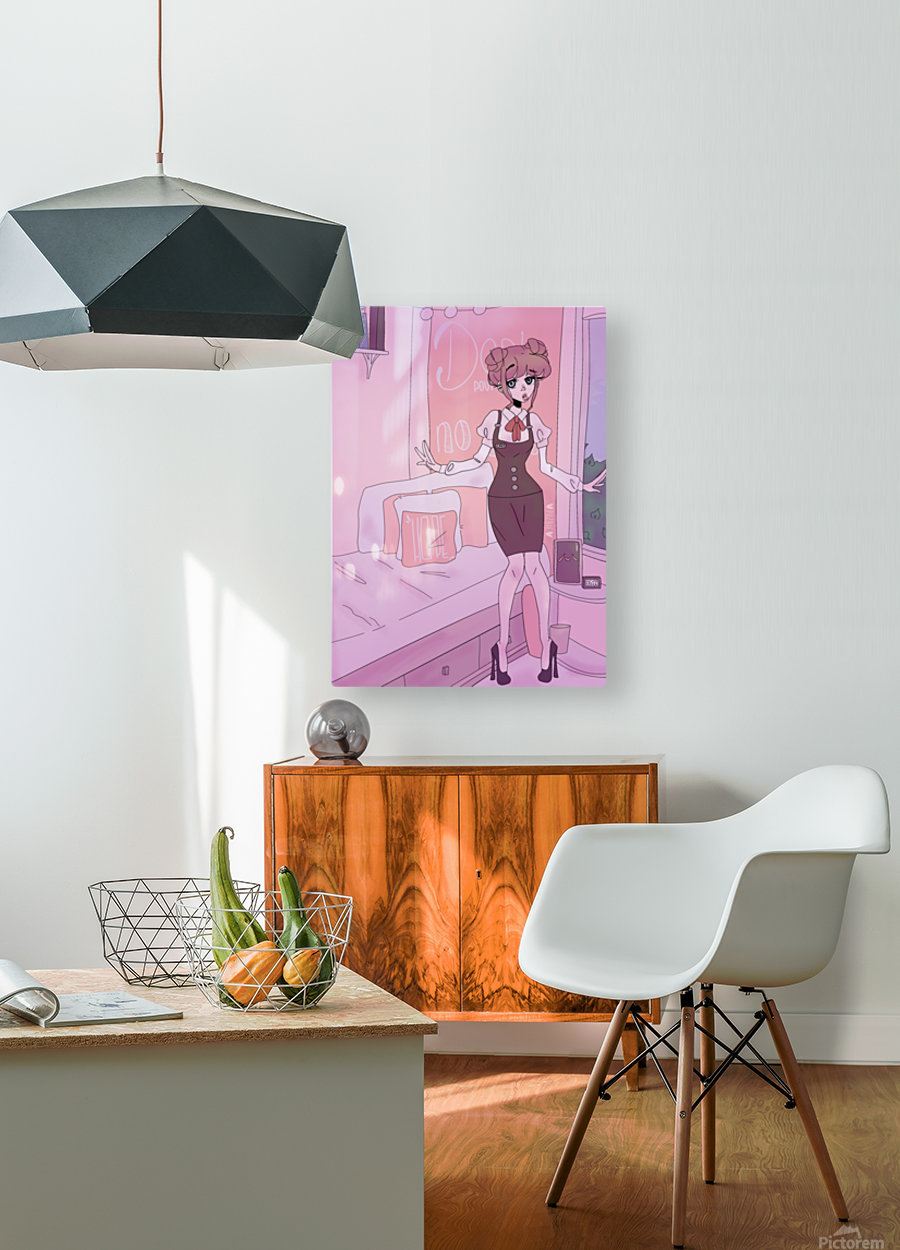 Original Female Character Cat in bedroom - Cell shaded version   HD Metal print with Floating Frame on Back