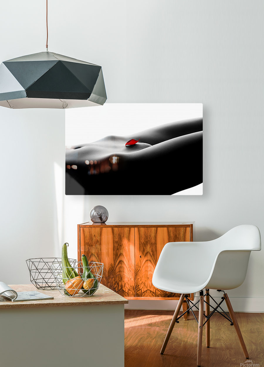 Nude bodyscape on white 1  HD Metal print with Floating Frame on Back