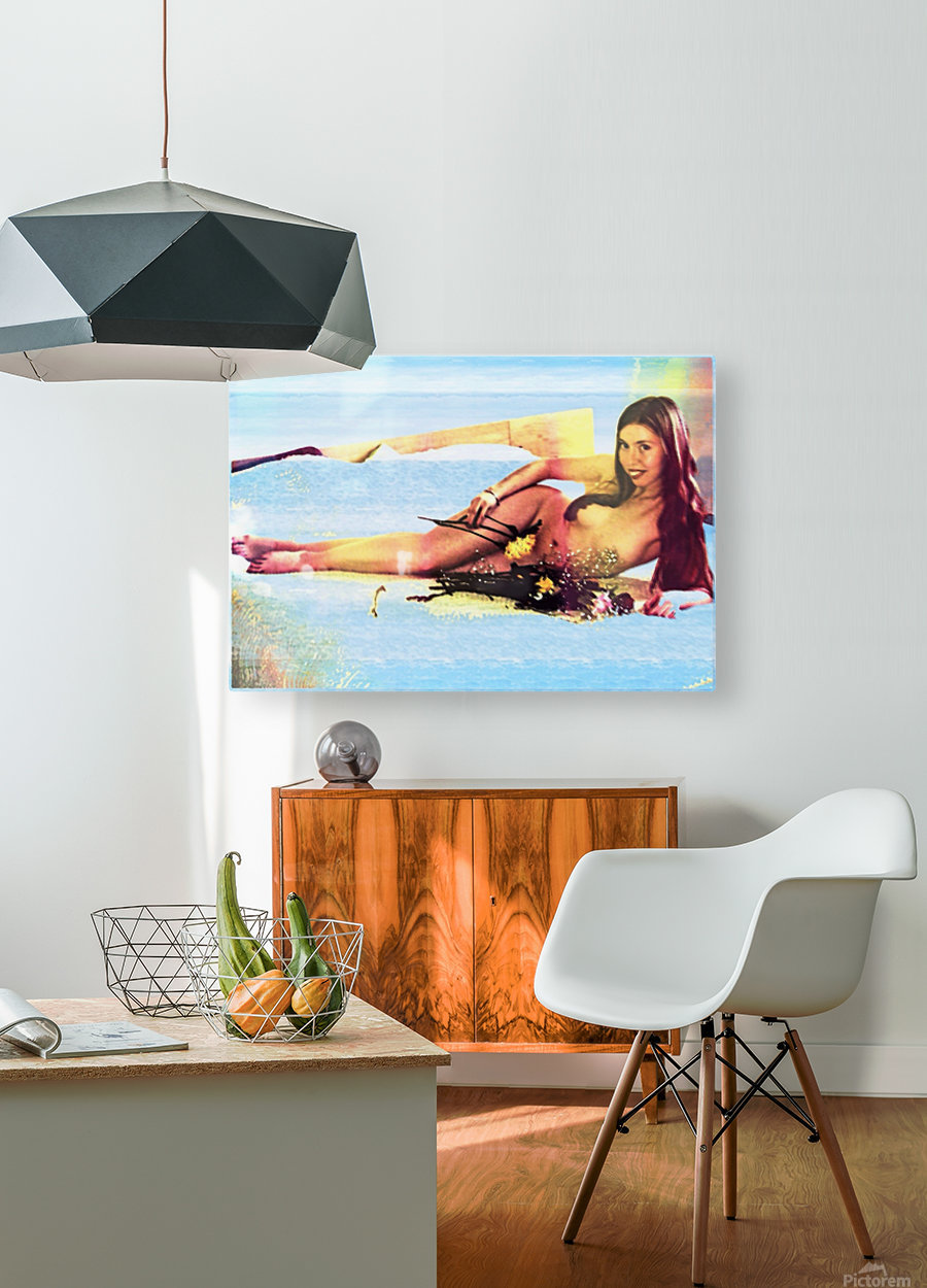 a mermaid in her home  HD Metal print with Floating Frame on Back