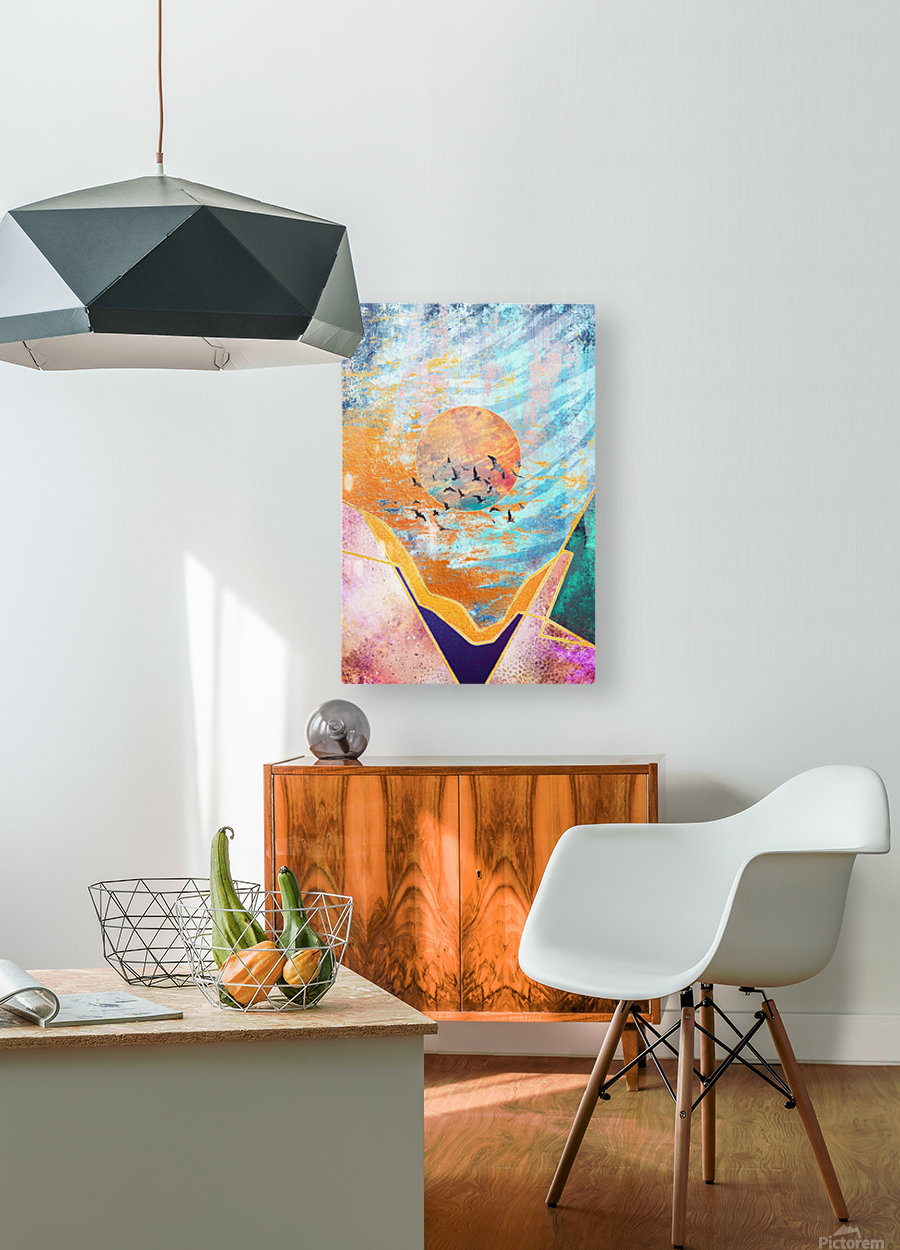 Abstract Sunset - Illustration VI  HD Metal print with Floating Frame on Back