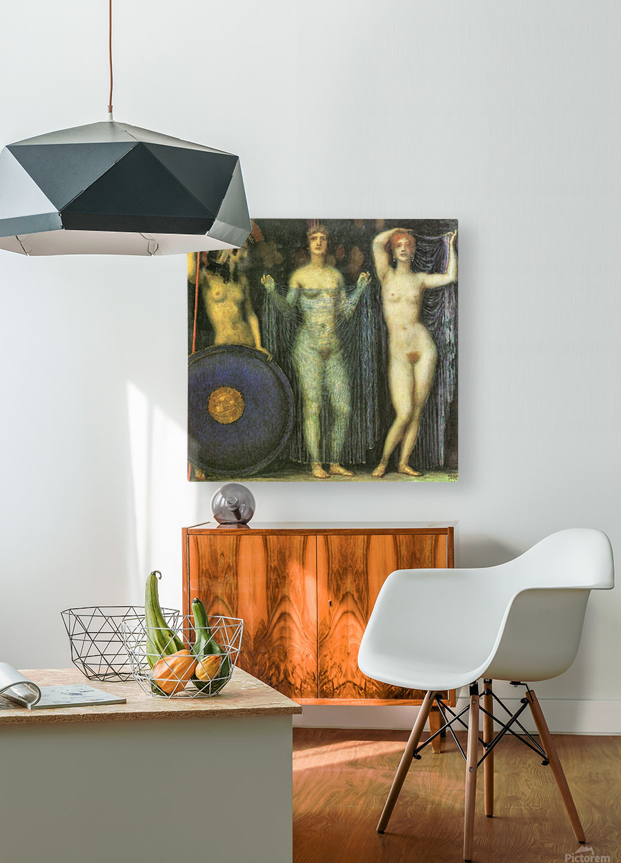 The three Goddesses Athena, Hera and Aphrodite by Franz von Stuck  HD Metal print with Floating Frame on Back