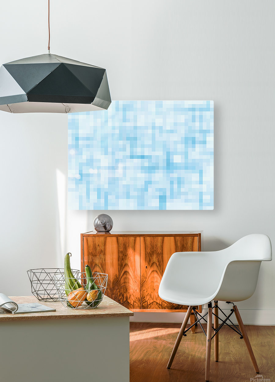 geometric square pixel pattern abstract in blue  HD Metal print with Floating Frame on Back