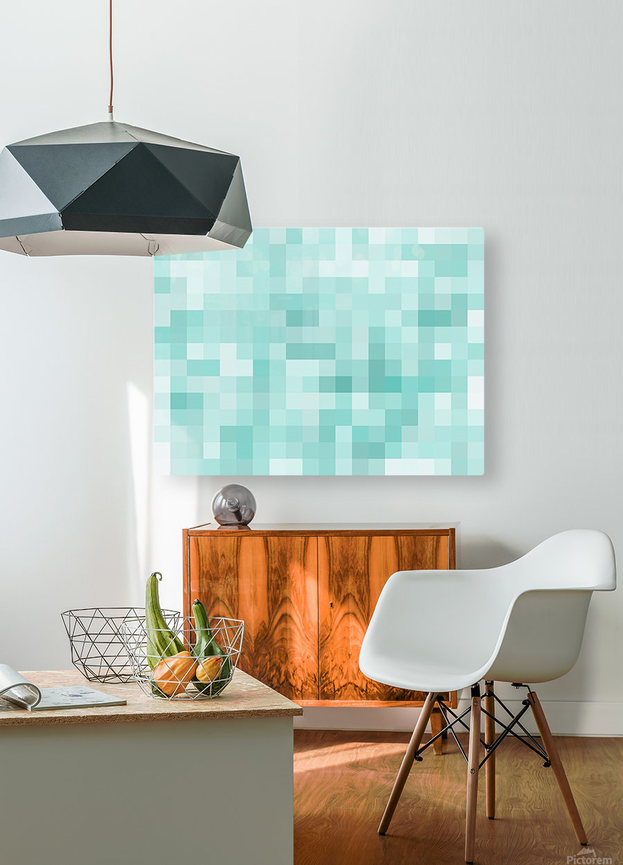 geometric square pixel pattern abstract in green  HD Metal print with Floating Frame on Back