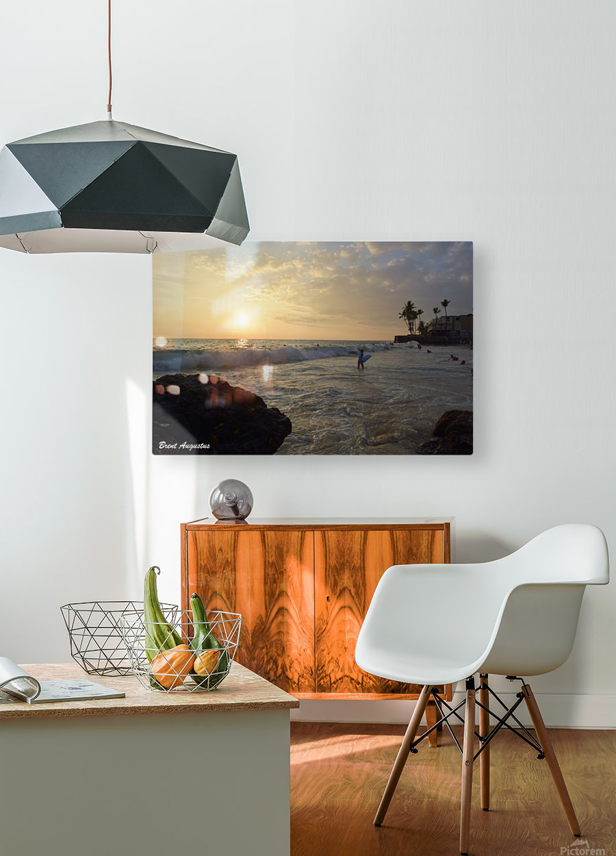 Hawaii Sunset  HD Metal print with Floating Frame on Back