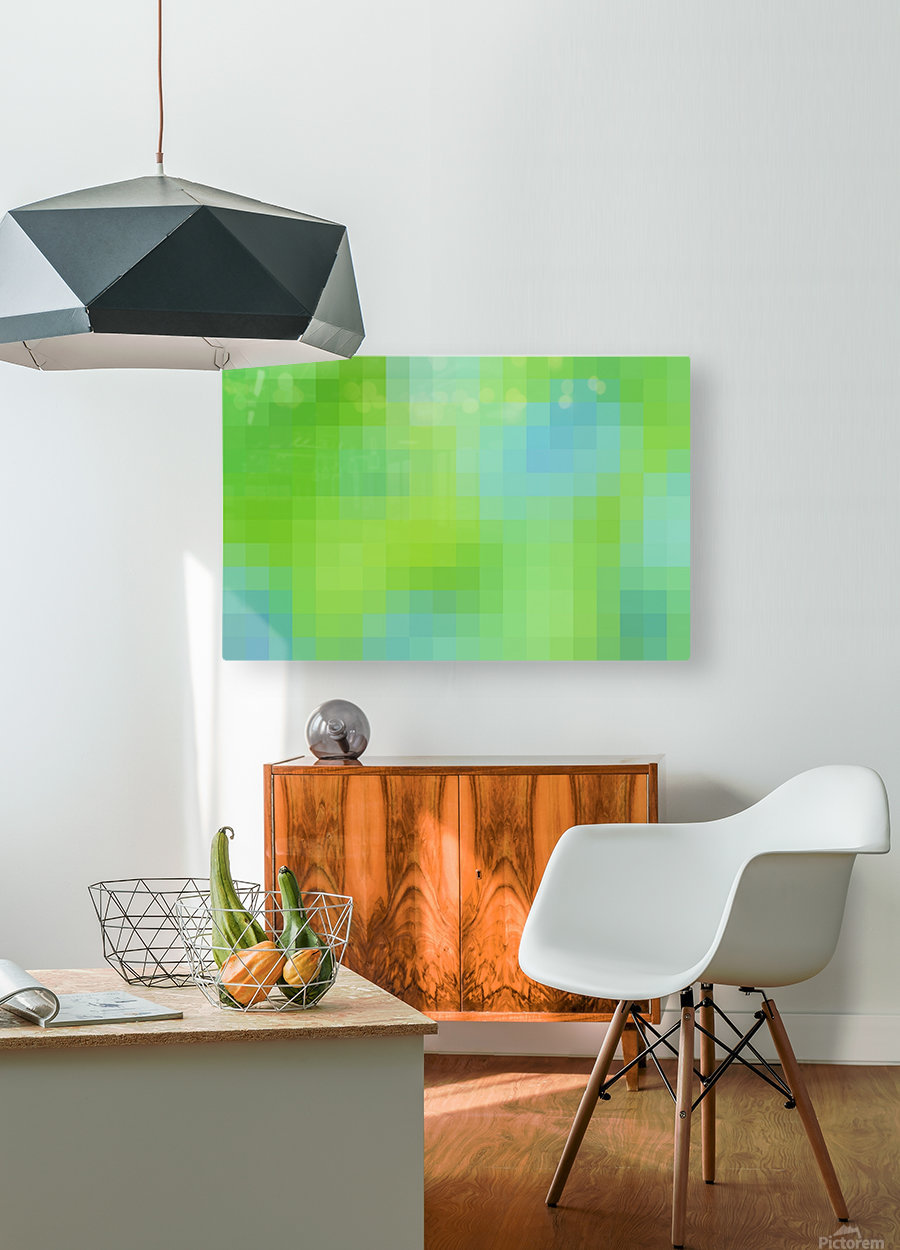 Abstract Pixel Art - blue and green 2  HD Metal print with Floating Frame on Back